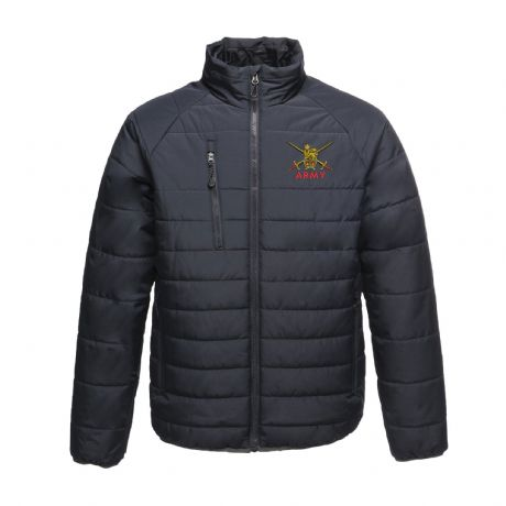 UK Military lightweight puffer  jacket with British Army embroidered cap badges, Royal Navy, Royal Marines and RAF.